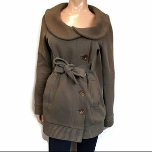 Three Stones Belted Trench Coat Soft Knit Jacket
